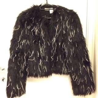 Krizia 意大利製黑白色毛毛fur外套