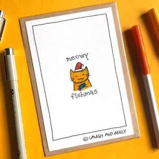 Hand Drawn Card: Meowy Fishmas
