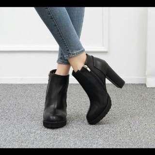 韓國百搭粗跟短靴