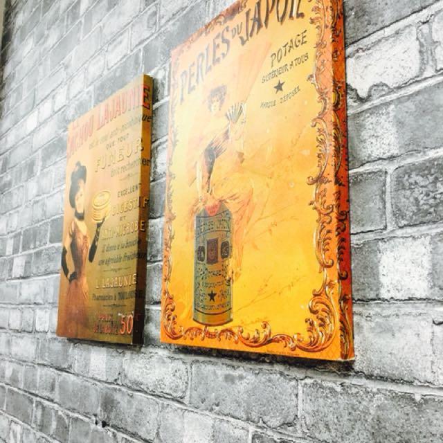 2 Vintage Canvas Frames