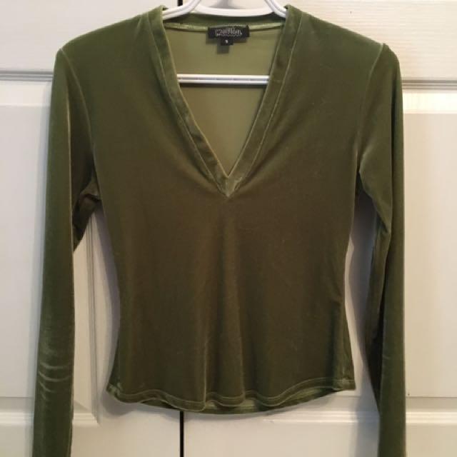 70s Green velvet top