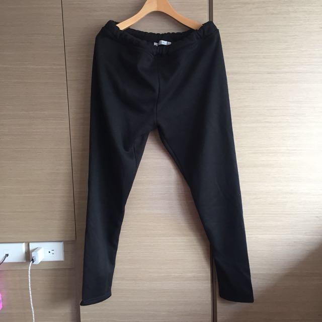 厚實保暖中大尺碼鬆緊長褲