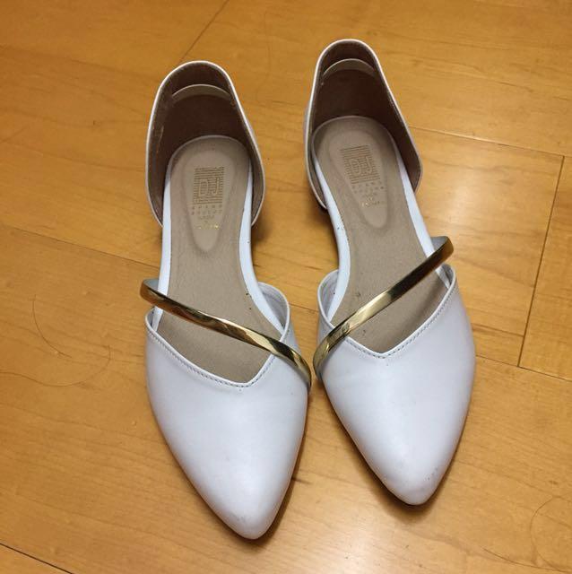 韓版白尖頭根鞋