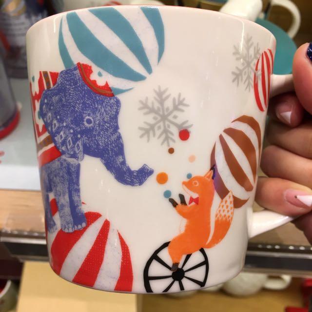 上海星巴克聖誕節系列🎄馬戲團狐狸大象圖案馬克杯