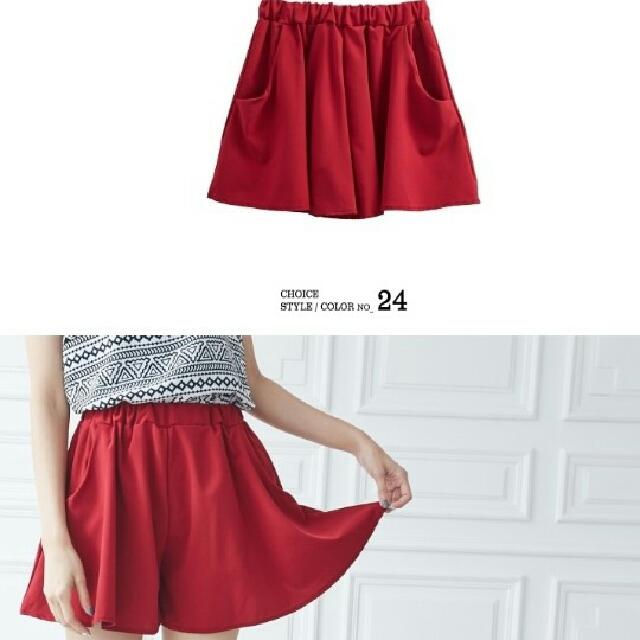 全新*紅色縮腰短褲裙