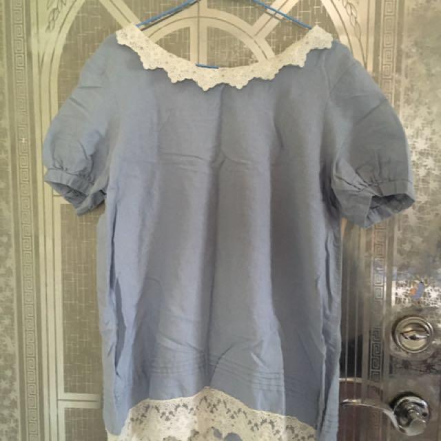 全新*超美日系天藍色上衣