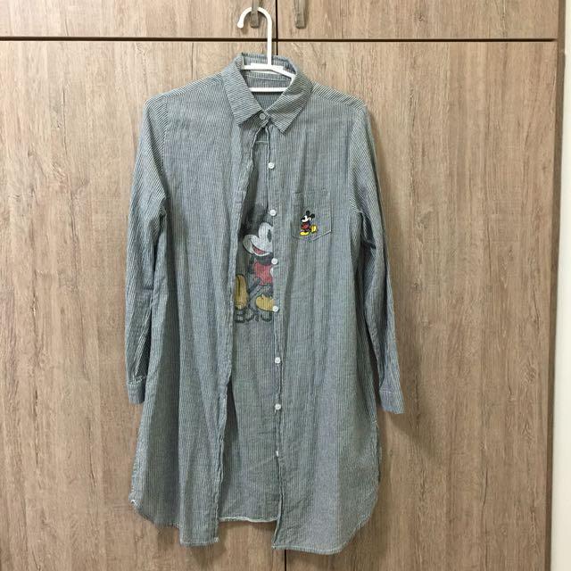 米奇條紋長版襯衫