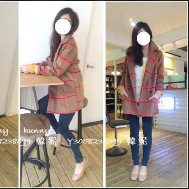 韓妮 格紋羊毛大衣