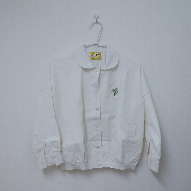 萌妹子軟妹系仙人掌刺繡白色上衣襯衫外套 #含運最划算#好物任你換 #舊愛換新歡