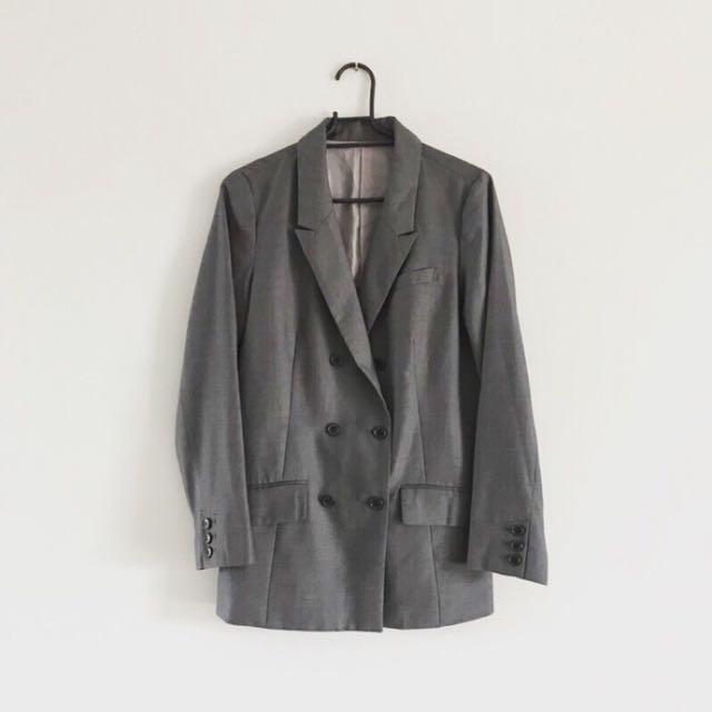日本品牌 灰色雙排扣寬版西裝外套