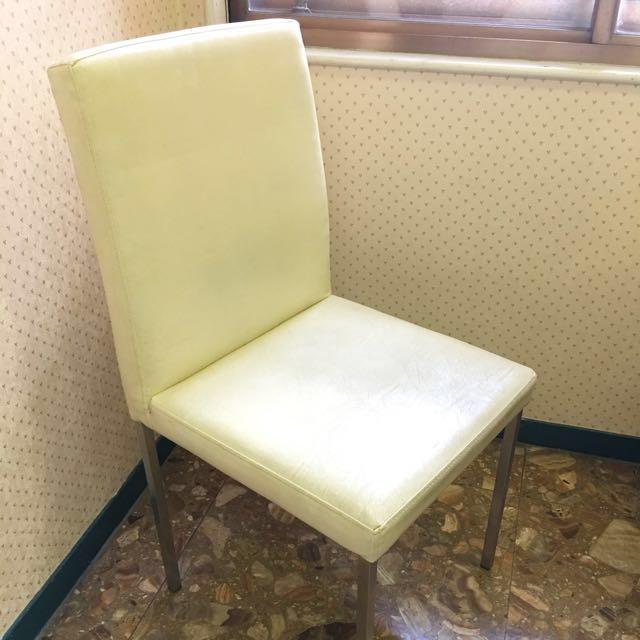 現代風簡約米白 金屬腳餐桌椅 椅子