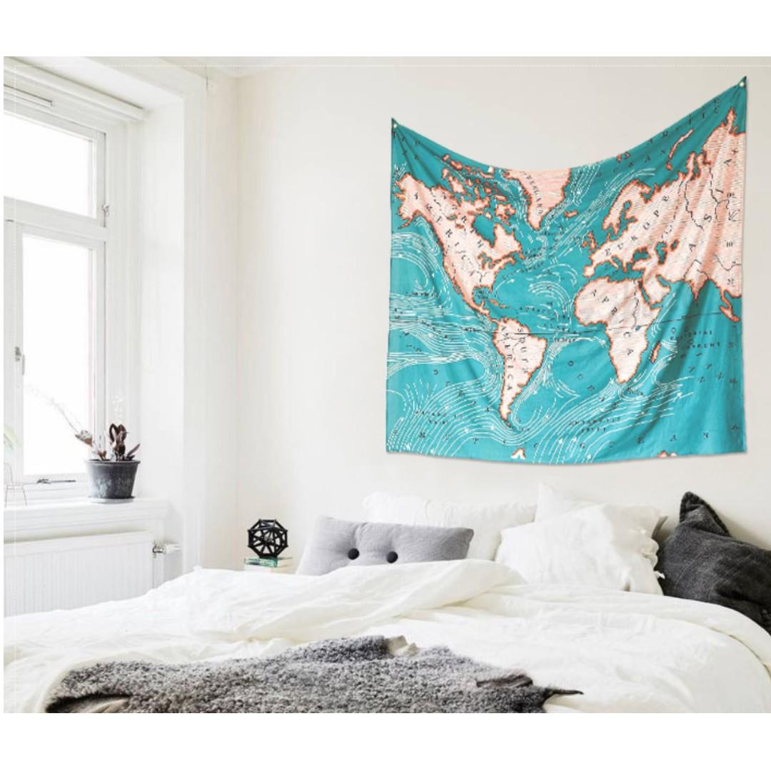 藍海系世界地圖掛布 壁幔 掛飾