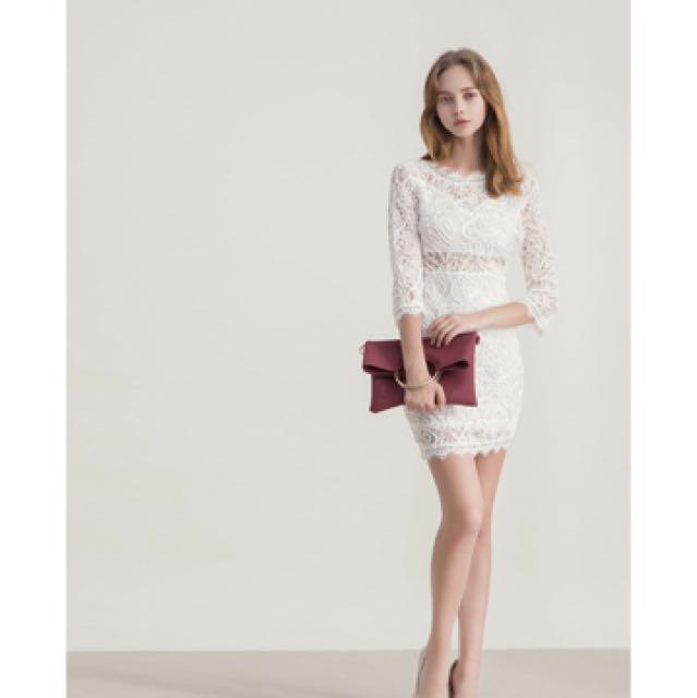 蕾絲美背洋裝 白色S號