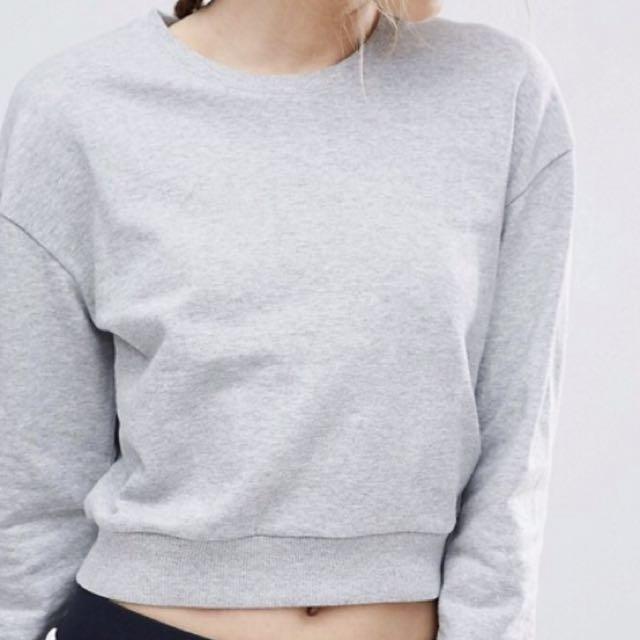 ASOS Cropped sweatshirt, heather grey, M