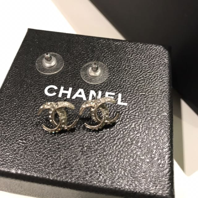 Authentic Chanel Earring In Sliver + Crystals Style.