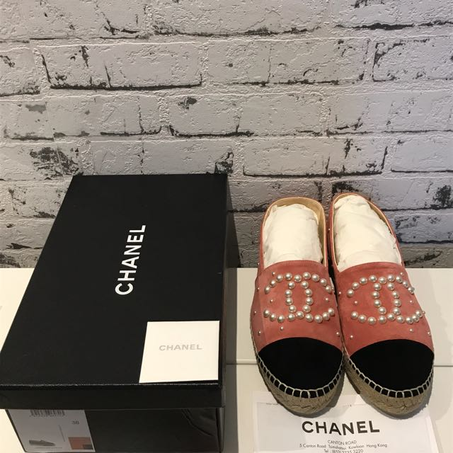 Authentic chanel Espadrilles In Peal Pink New In Box  Rrp$900