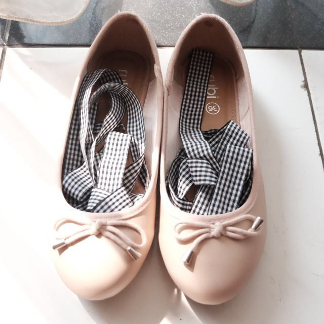 Ballerina Flats with Black & White Gingham Ribbon
