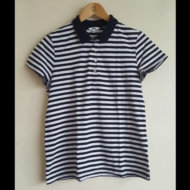 Black and White UNIQLO Collared Shirt (XL)