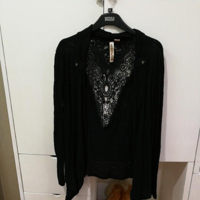 Black Cardigan with see thru back design
