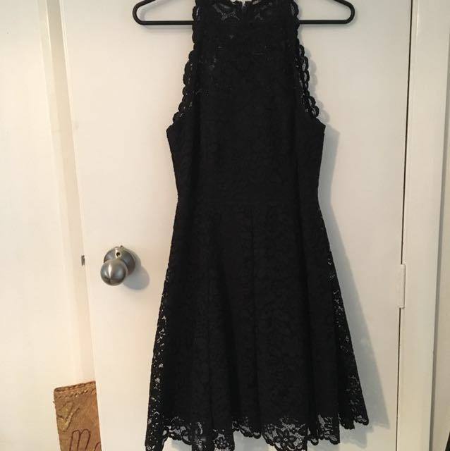Black high neck Forever New dress. Size 8