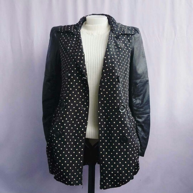 black polka dots with leather sleeves