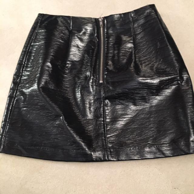 Black small vinyl/leather skirt