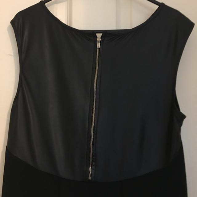 Black Top, Leather Shoulders and Back
