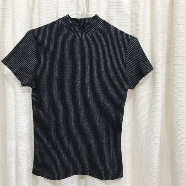 Black-Silver Stripes Turtleneck T-Shirt