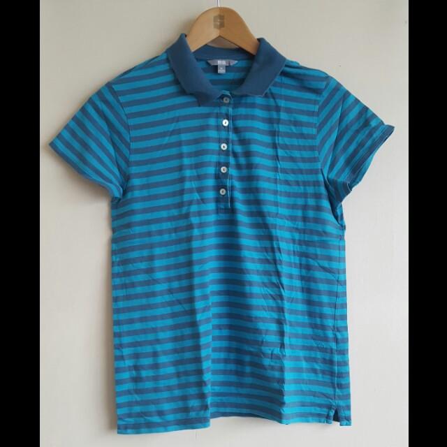 Blue Striped UNIQLO Collared Shirt (XL)