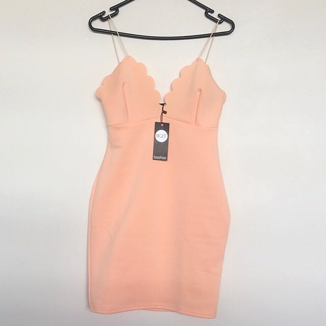Boohoo peach dress