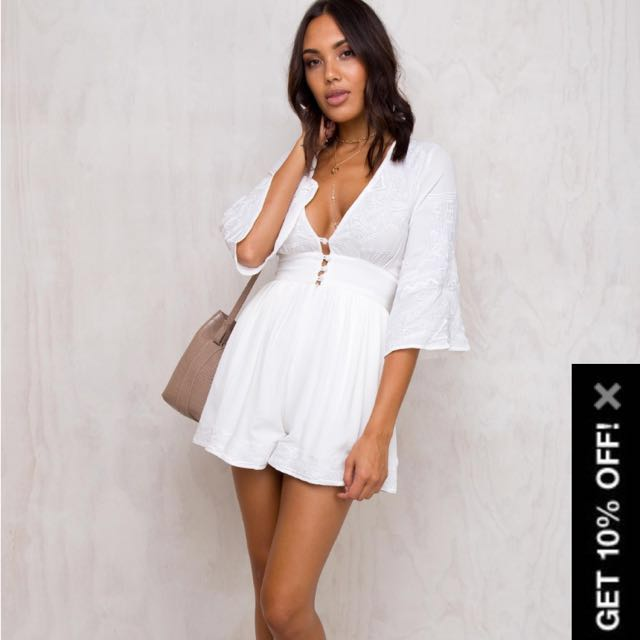 Brand new Princess Polly white romper playsuit dress