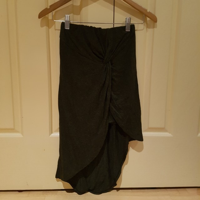 Charcoal asymmetric knotted jersey skirt