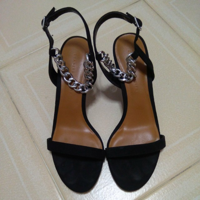 7f6863482437 Charles   Keith Black Strappy Chain Heel