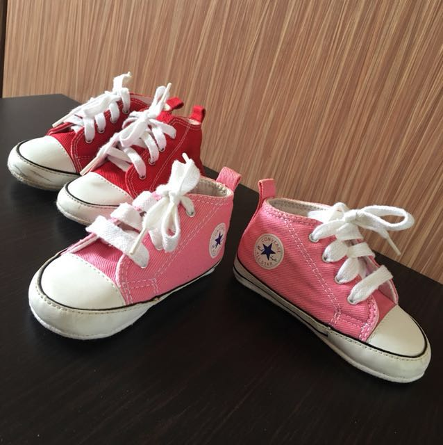 5b83d6108e9a Converse All Star Pre-walker baby shoes Pink plus Free Red shoes ...