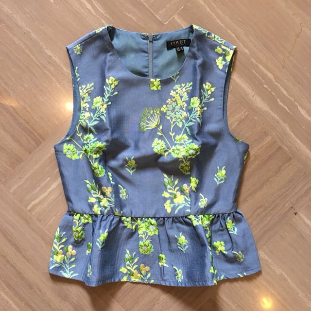 Covet by Love Bonito Blue Floral Peplum Top
