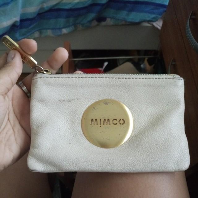 Cream Mimco Pouch gold detaling