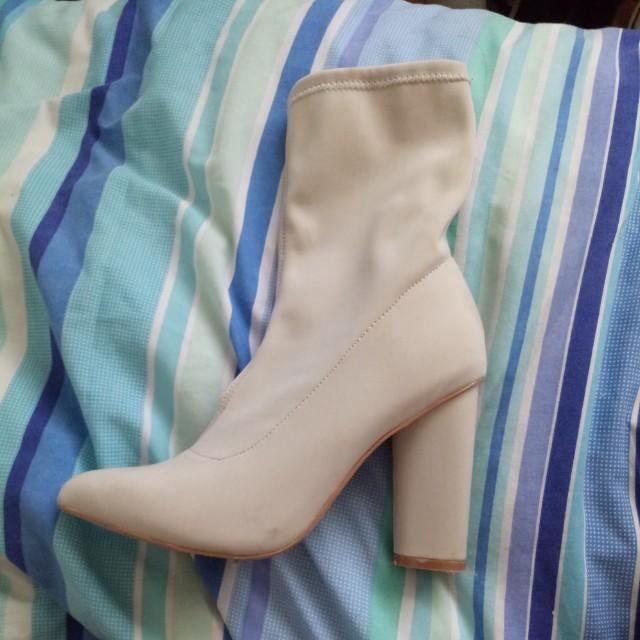 Cream sock boot