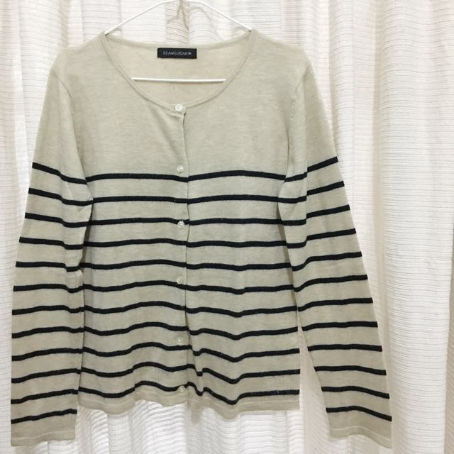 Cream with Navy Stripes Cardigan