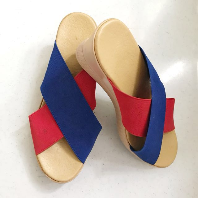 Criss Cross Strap Wedge | Blue & Red