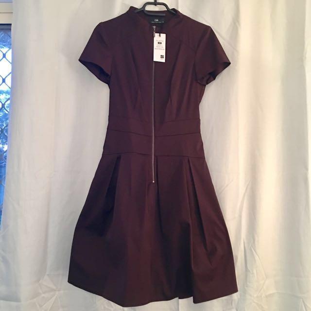 CUE Plum Zip Front Dress