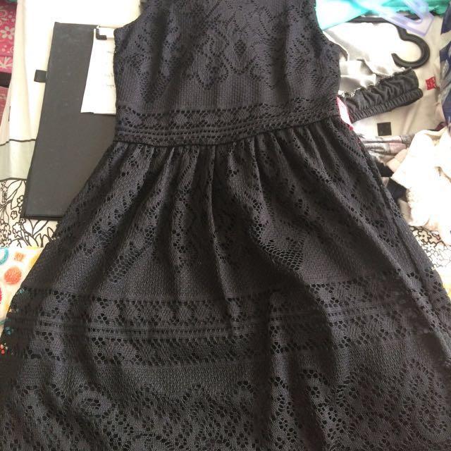 Divided Black mini dress lace