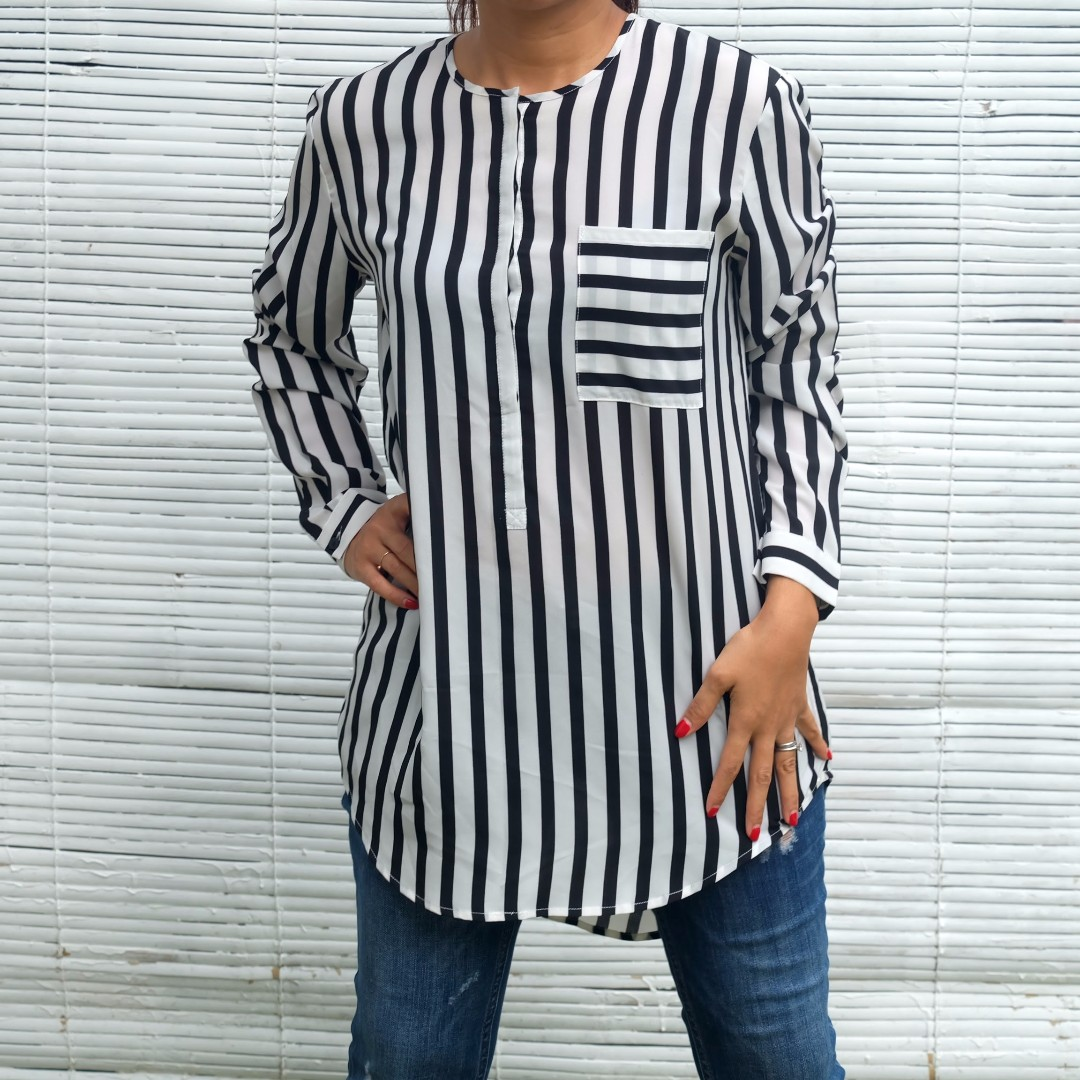 Esprit De Corps EDC Black & White Stripes Oversized Top/Atasan/Blouse