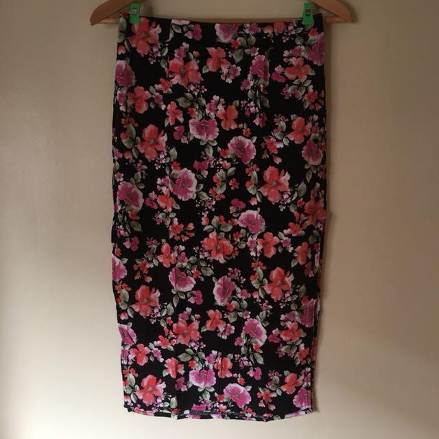 F21 Floral Skirt with Side Slit