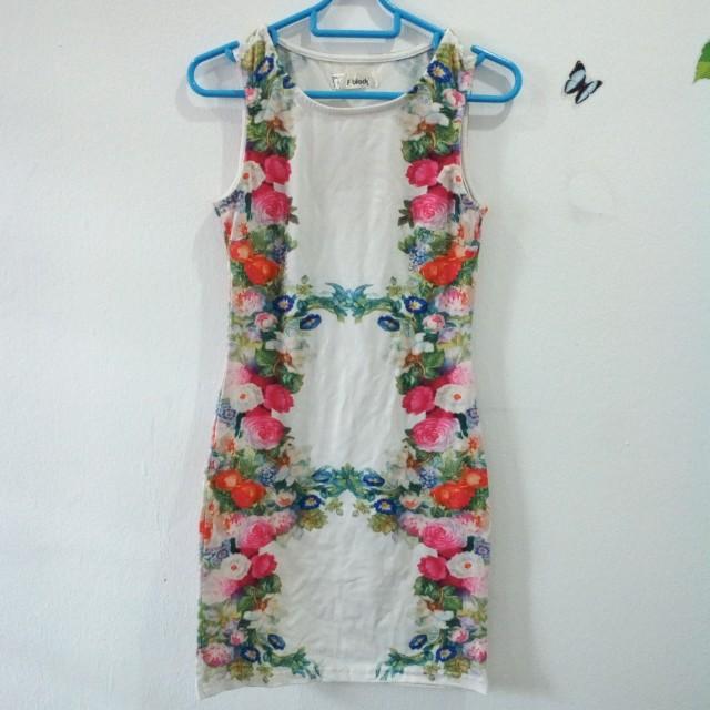 F block floral bodycon dress