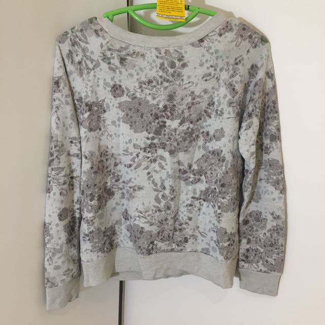 Grey floral sweater