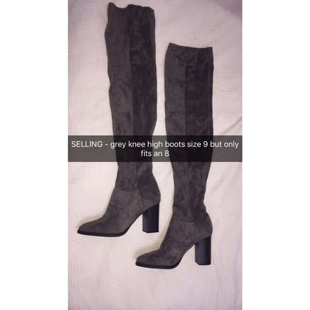 Grey knee high lipstick boots