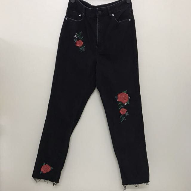 H&M DIVIDED High-waisted Fit Embroidery Detail Skinny Jeans