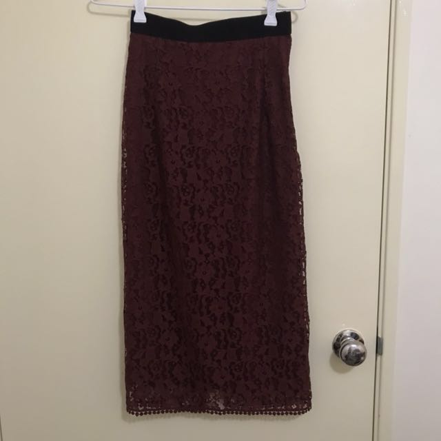 H&M Lace Midi Skirt