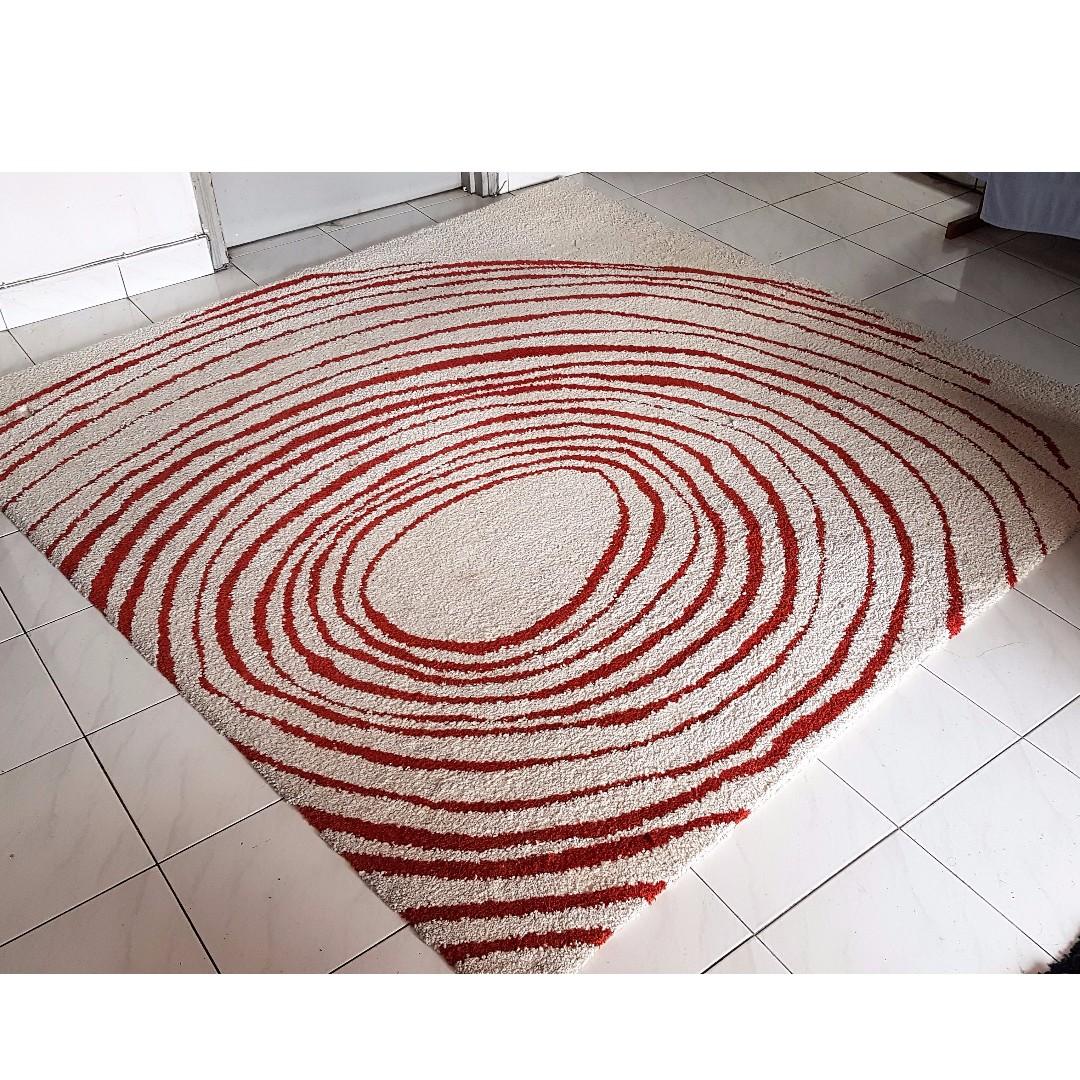 Ikea Eivor Circle Cream Red Rug Home