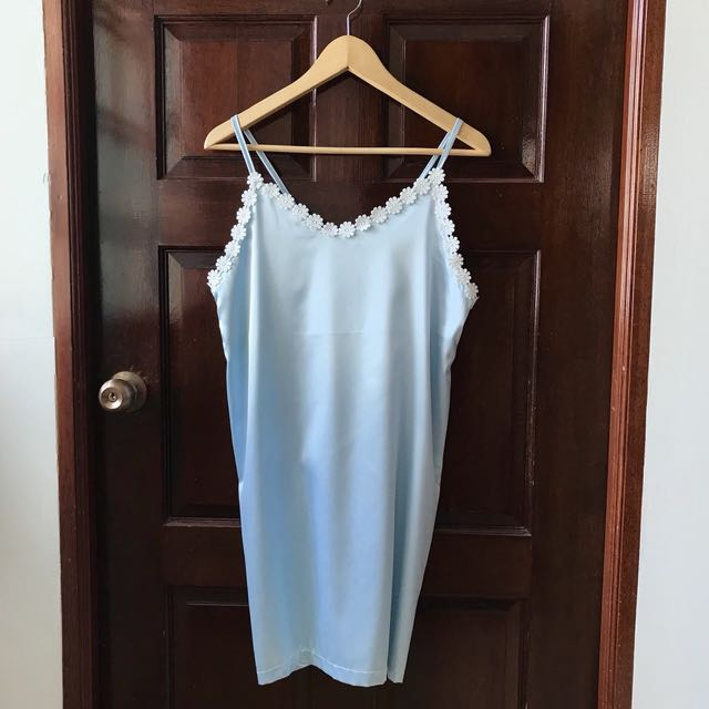 b57642a9c547 In Stock  Pastel Blue Sky Satin Pyjamas   Camisole   Nightdress with ...